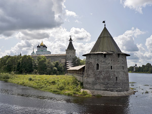 Ancient Pskov land with fortress in rivers crossing